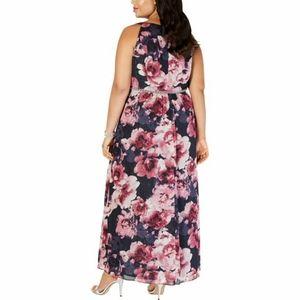 SLNY Dresses - SLNY Womens Plus Floral Embellished Evening Dress